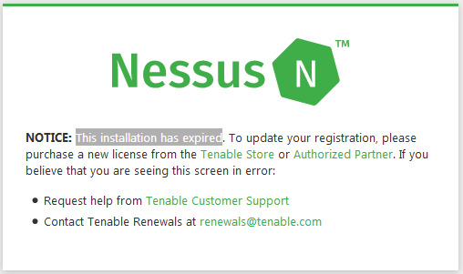 This installation has expired - Nessus